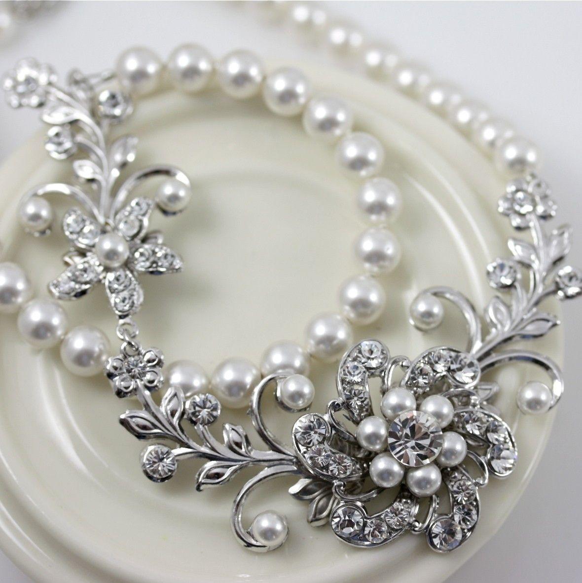 White Pearl Bridal Necklace Vintage Wedding Jewelry Swarovski
