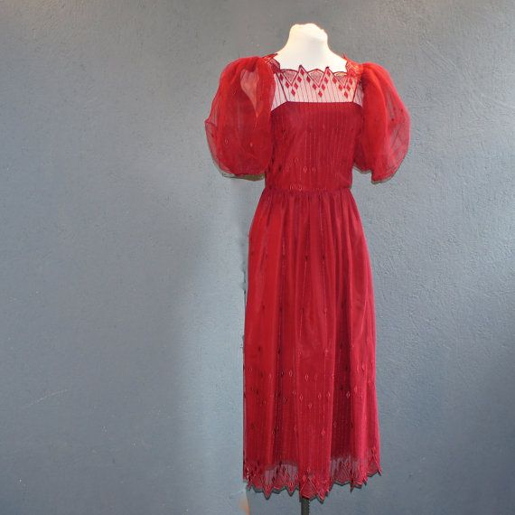 Vintage Red Lace Holiday Dress with Unique Couture Lace Edging, Exagerated Puff Sleeve, Fully Lined.  Size 6 on Etsy, $65.00