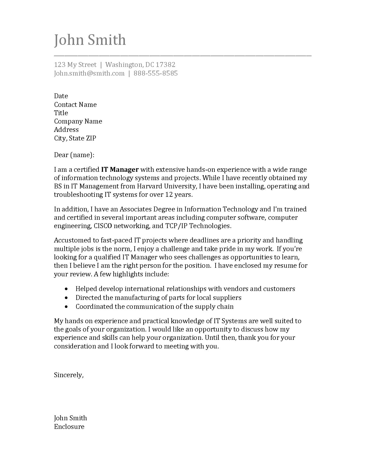 Cover Letter Template Science 1 Cover Letter Template Sample