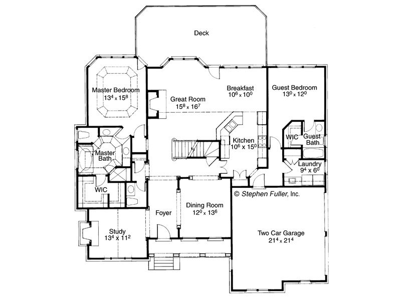 House Plan Calaveras Stephen Fuller Inc I Would Enlarge The Master If