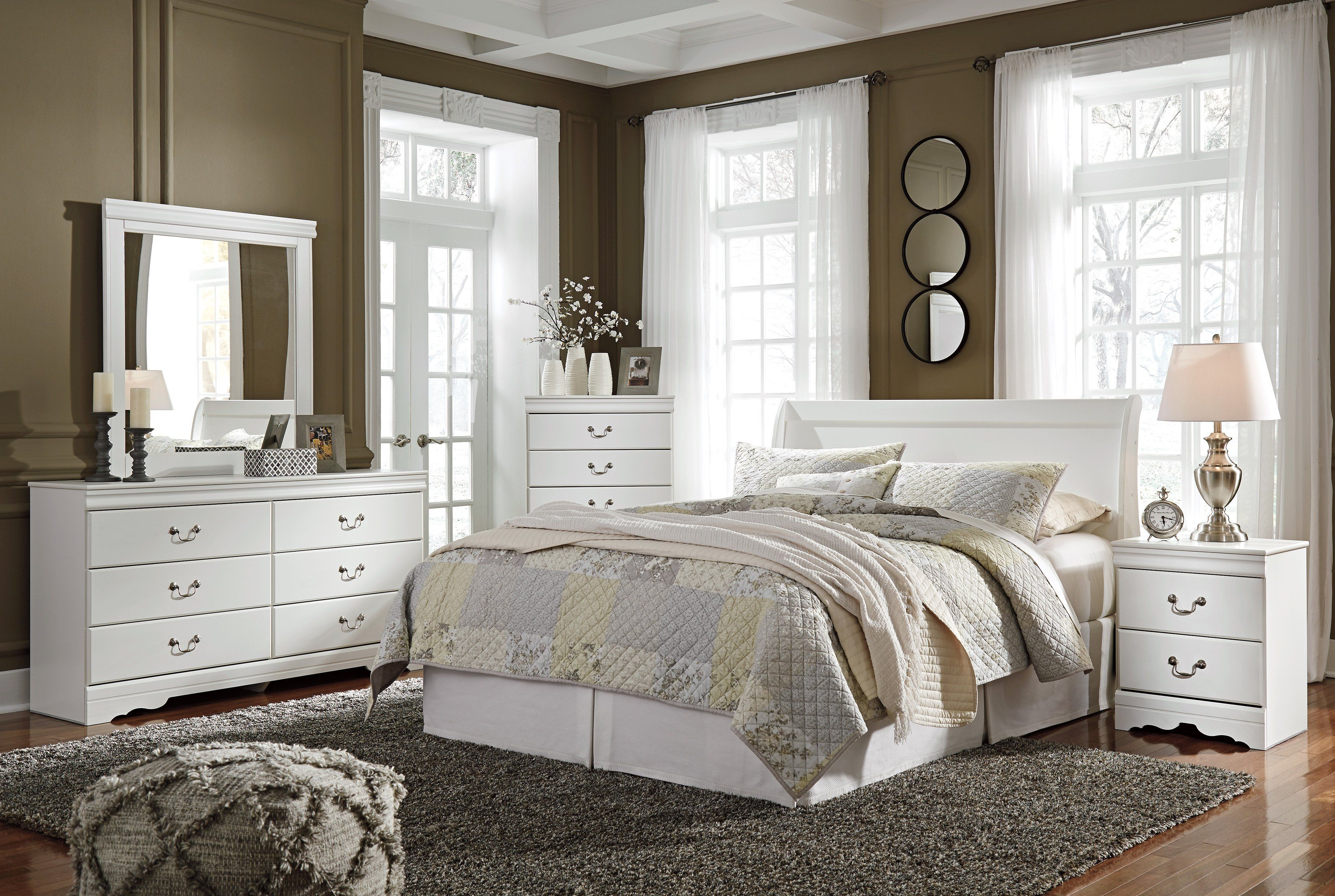 Anarasia Sleigh Bed White Bedroom sets queen, Ashley