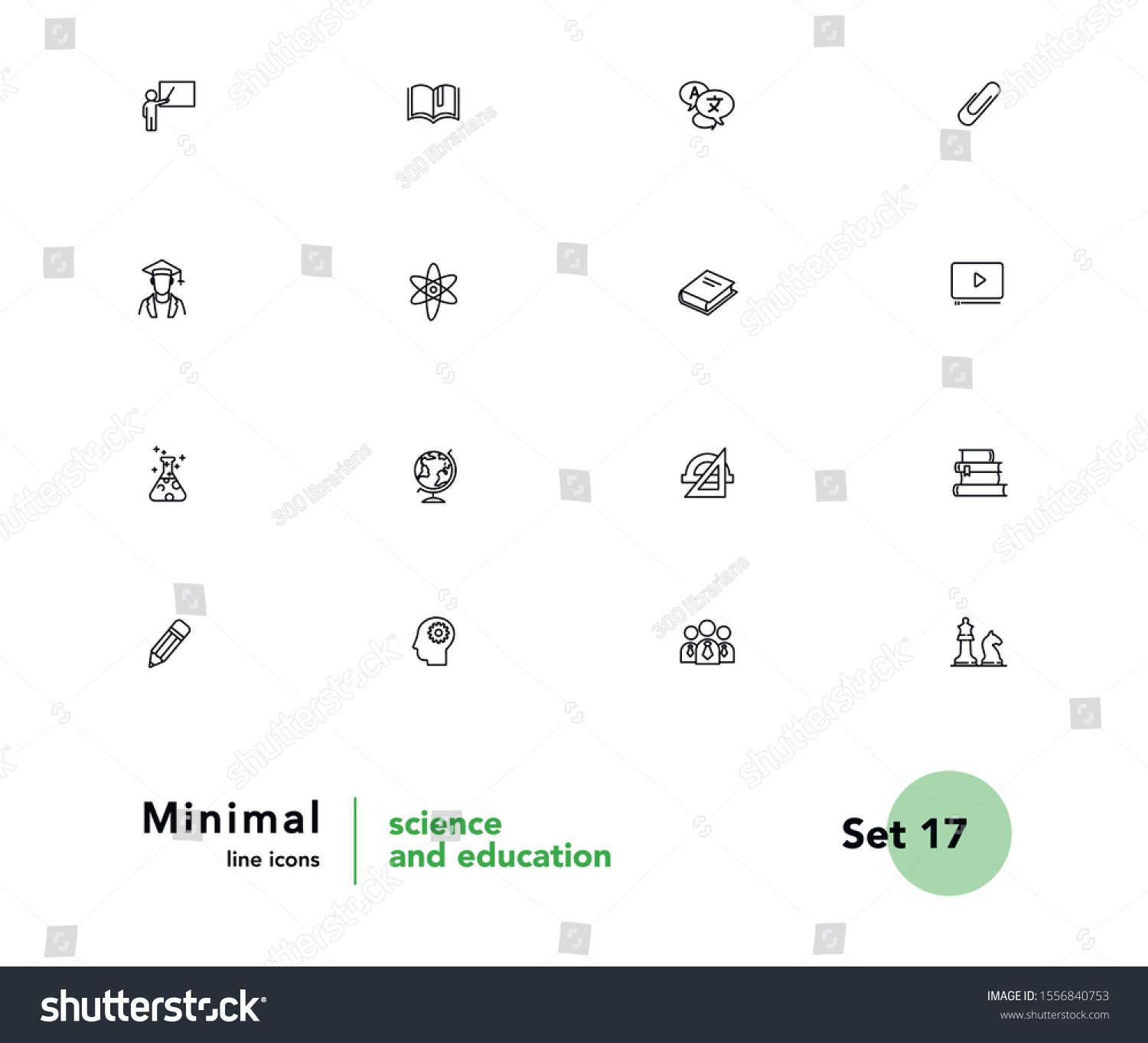 Science And Education Vector Linear Icons Set Elements Education