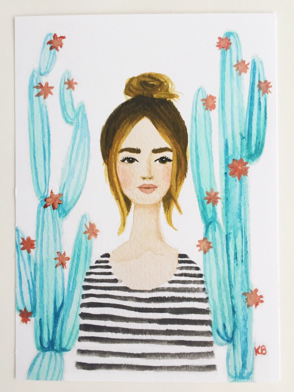 Print Of Cactus Girl Original Watercolor And Gouache
