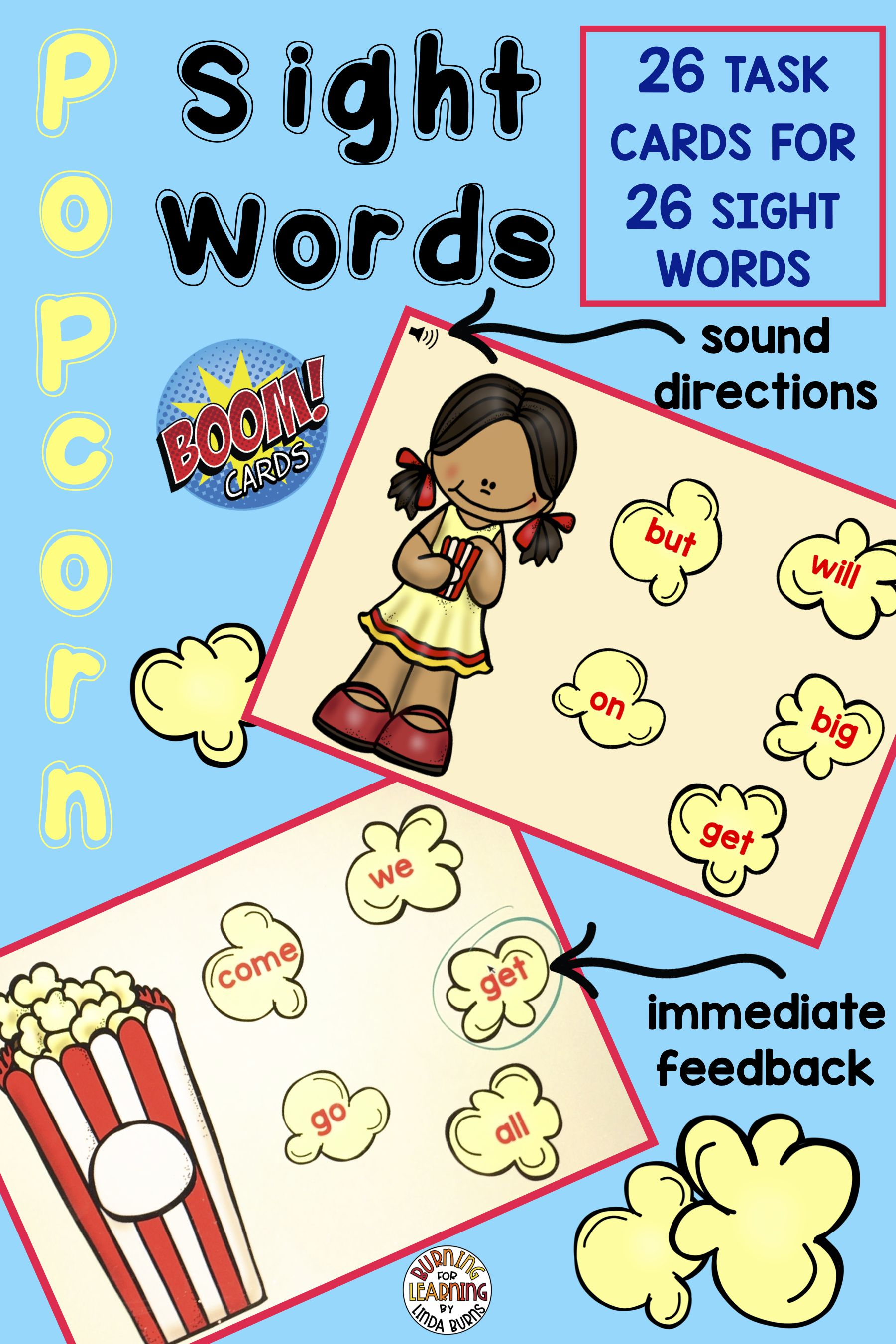 Popcorn Sight Words Boom Cards For Distance Learning