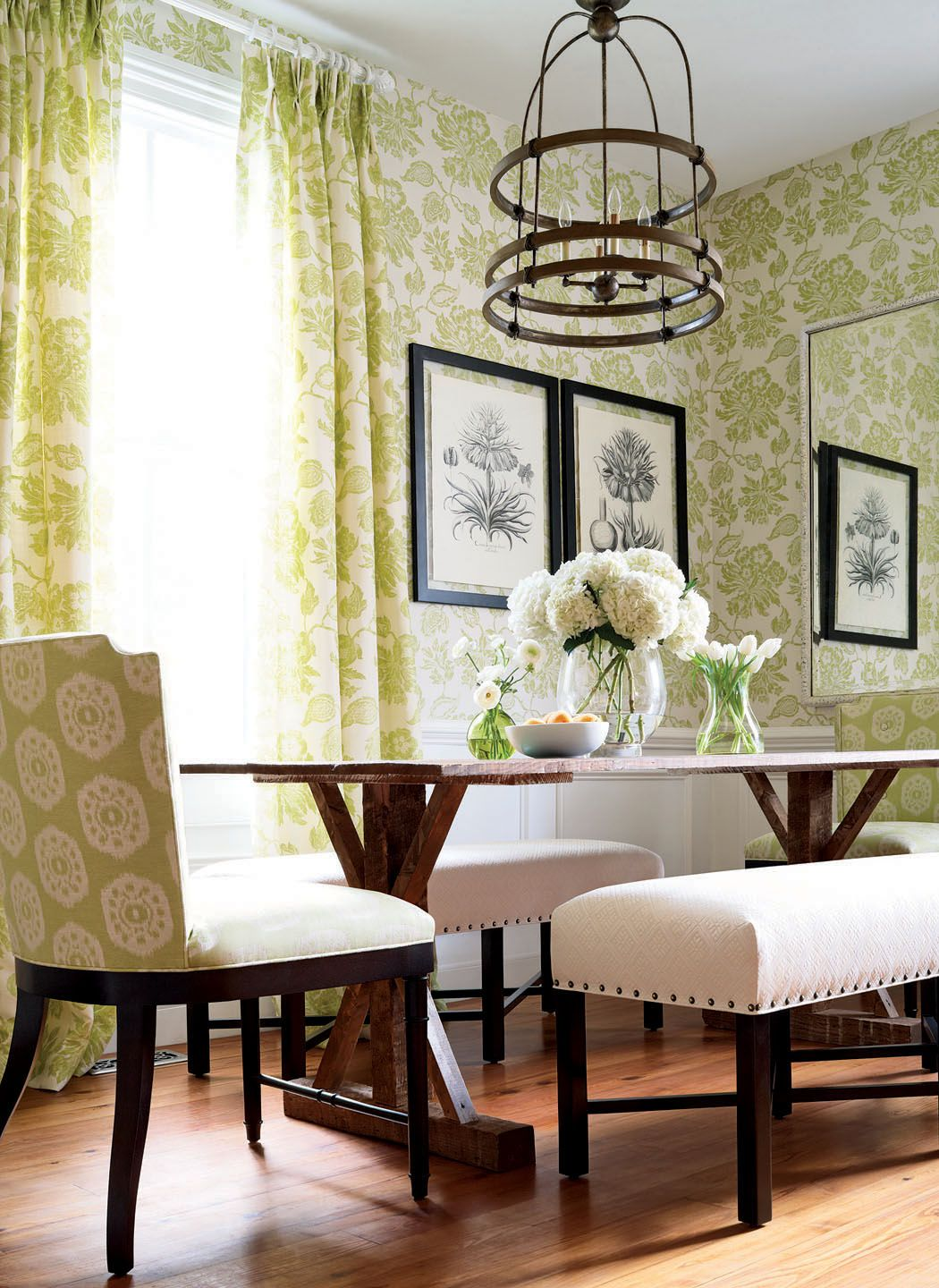 Helena wallpaper and fabric in lime green and Circle
