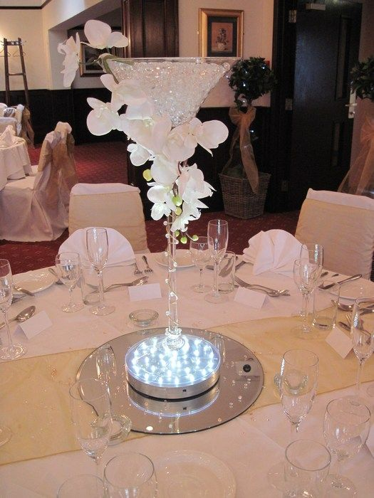 Gel beads in martini glasses centerpiece idea wedding