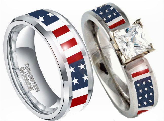 American Flag Couples Wedding Ring Set Camo Wedding Rings Gold Topaz Engagement Ring Couples Ring Set