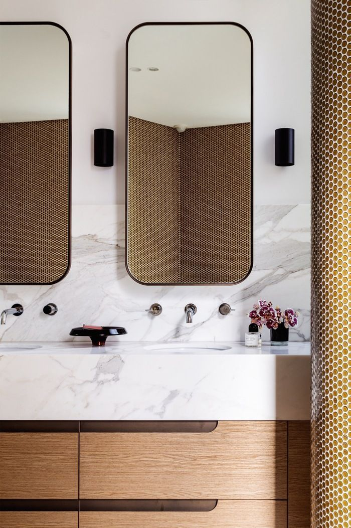 Bathrooms That Have Us Itching For A Reno is part of Bathrooms That Have Us Itching For A Reno New House - Today we're taking a twirl around a few bathrooms from D's files  From playful pennytiledsurfaces to luxe brass accents… here are a few looks that have us dreaming