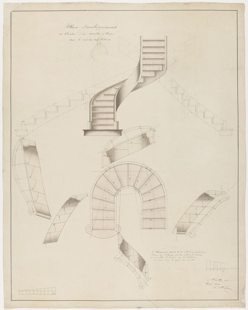 Drawing Plan Development And Elevation For A Spiral Staircase That Turns To The Right March 1886 Spiral Staircase Plan Staircase Design Spiral Staircase