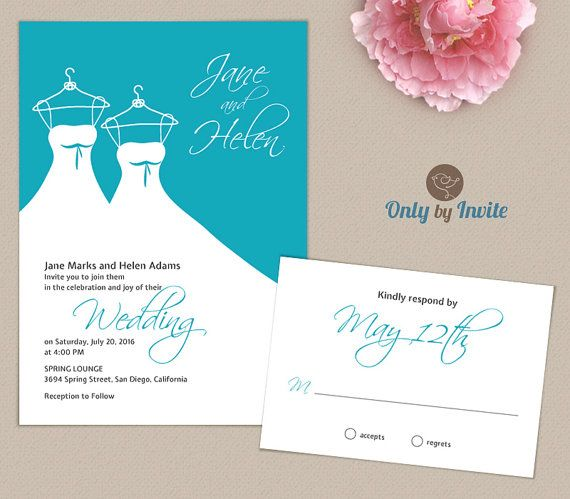 Lesbian Wedding Invitation | Same Gender Wedding Invitations | Civil  Ceremony Turquoise And White Simple Invitation