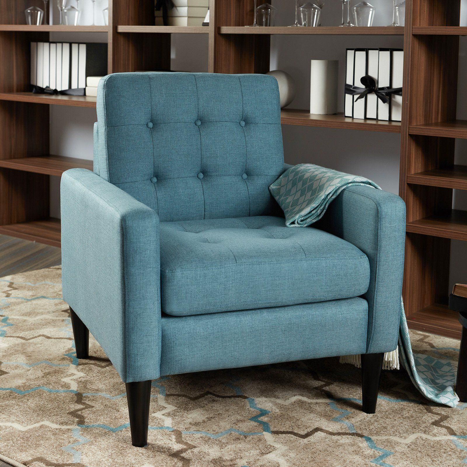 Best Lokatse Oriental Accent Chair Turquoise Blue Upholstery 400 x 300
