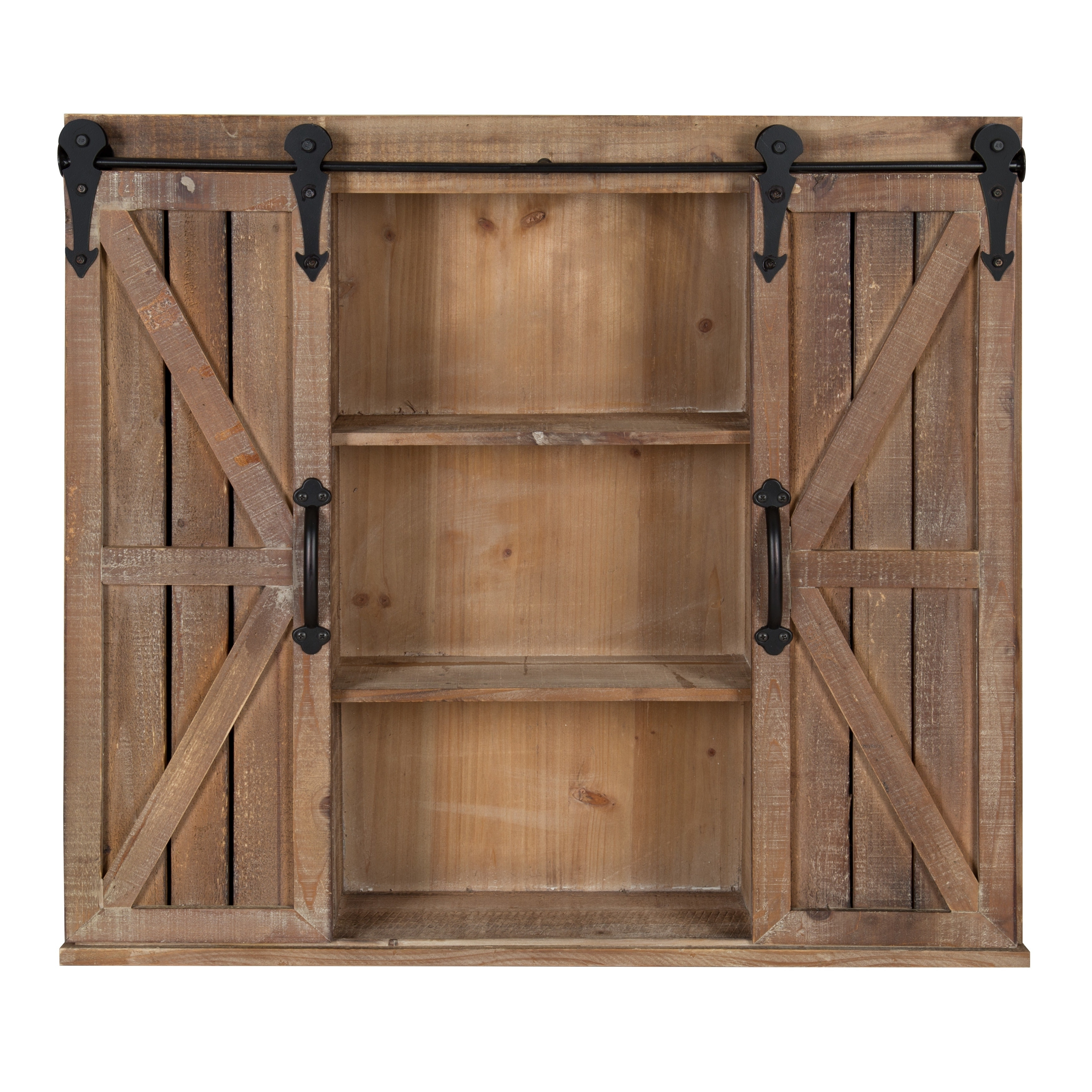 Kate and laurel cates brown wood rustic wall storage cabinet with