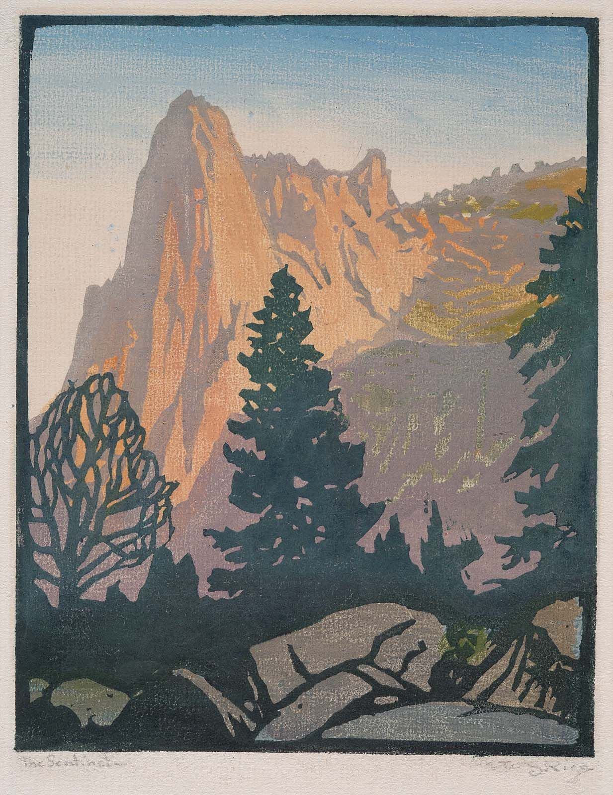 The Sentinel Yosemite William Rice Ca 1920 Color Woodcut 8 15 16 X 7 Museum Of Fine Arts Boston