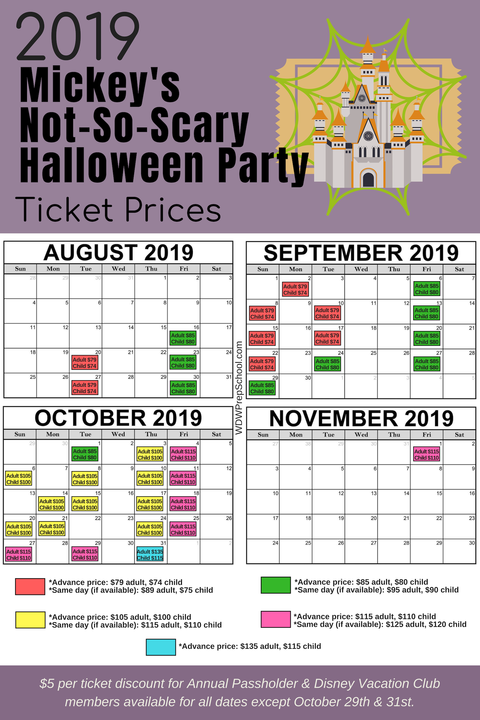 2019 Mickeys NotSoScary Halloween Party ticket prices
