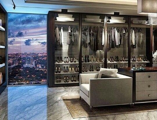 closet with a view of the city natch my dream home has. Black Bedroom Furniture Sets. Home Design Ideas