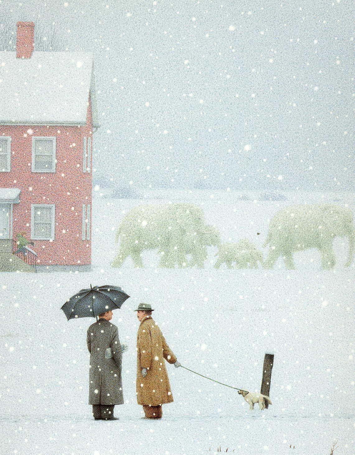Elefantes De Nieve En Canadá Momentos Maravillosos Los Del Coleccionista Cuadro Invernal Ilustración De Elefante Producción Artística