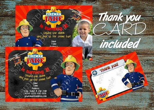 Fireman Sam Birthday Party Invitation Free Thank You Card Fireman Sam Birthday Party Fire Man Birthday Party Fireman Sam