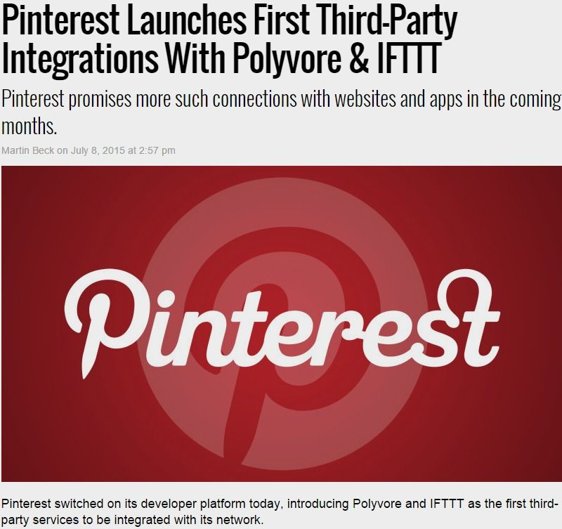 6291676efec19 Pinterest Launches First Third-Party Integrations With Polyvore & IFTTT by  @martinbeck