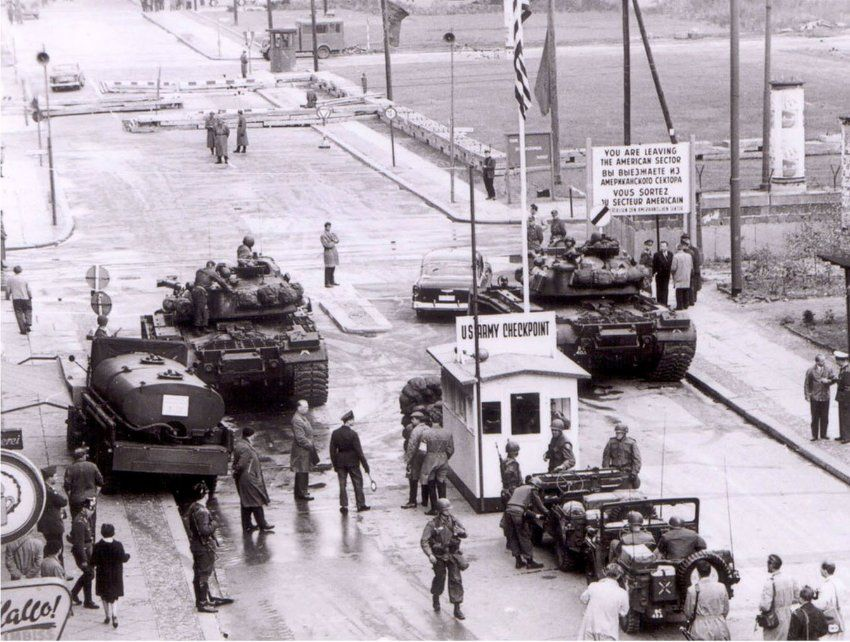 August 13, 1961, the day the Berlin Wall was erected: A birds eye view of the former Allied Checkpoint Charlie.