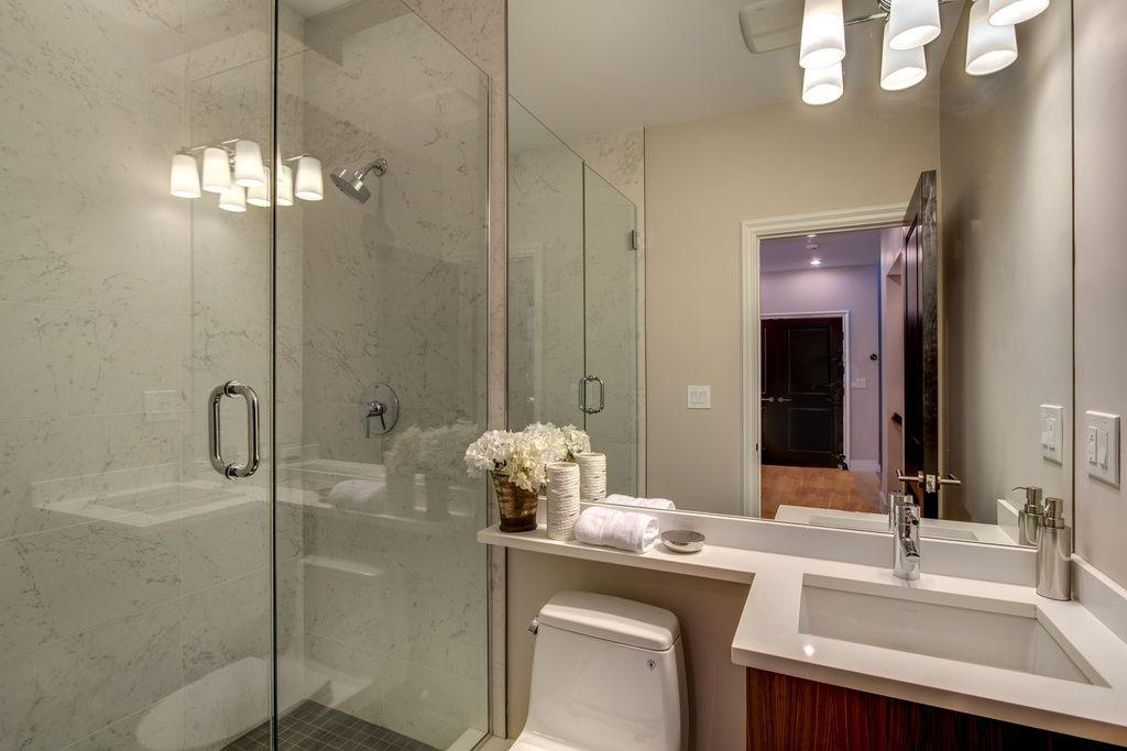 Contemporary 3 4 Bathroom With Frameless Showerdoor Flush Murray Feiss Vs20203pn Polished