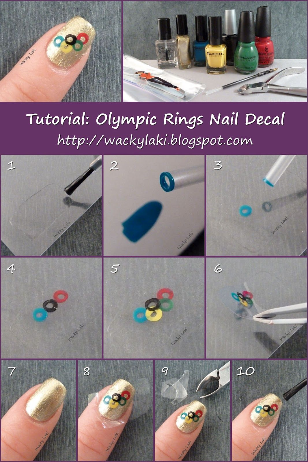 Olympic Rings Nail Decal\' by Anutka. Good instructions on creating ...