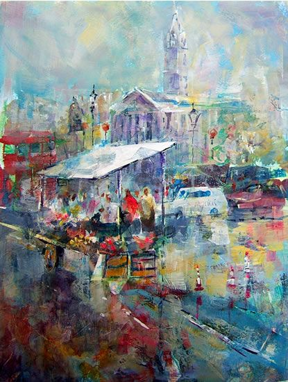 Market Stall Painting by Horsell Woking Surrey Artist Sera Knight