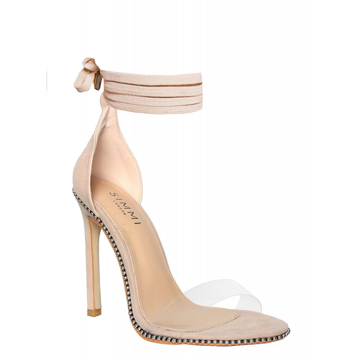 c157e0fb21b Skylar Nude Suede Studded Clear Lace Up Heels   Simmi Shoes