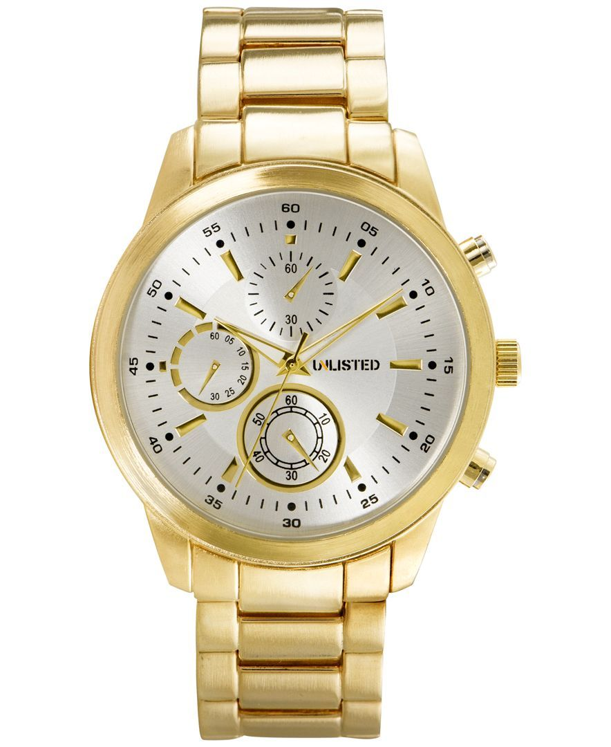 Unlisted Men's Chronograph Goldtone Bracelet Watch 45mm 10027764, Only At  Macy's