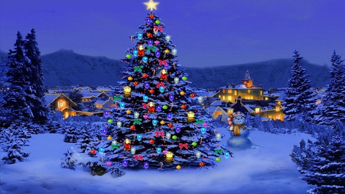 Christmas Tree Light In Snow Tree Hd Wallpapers For Iphone 5