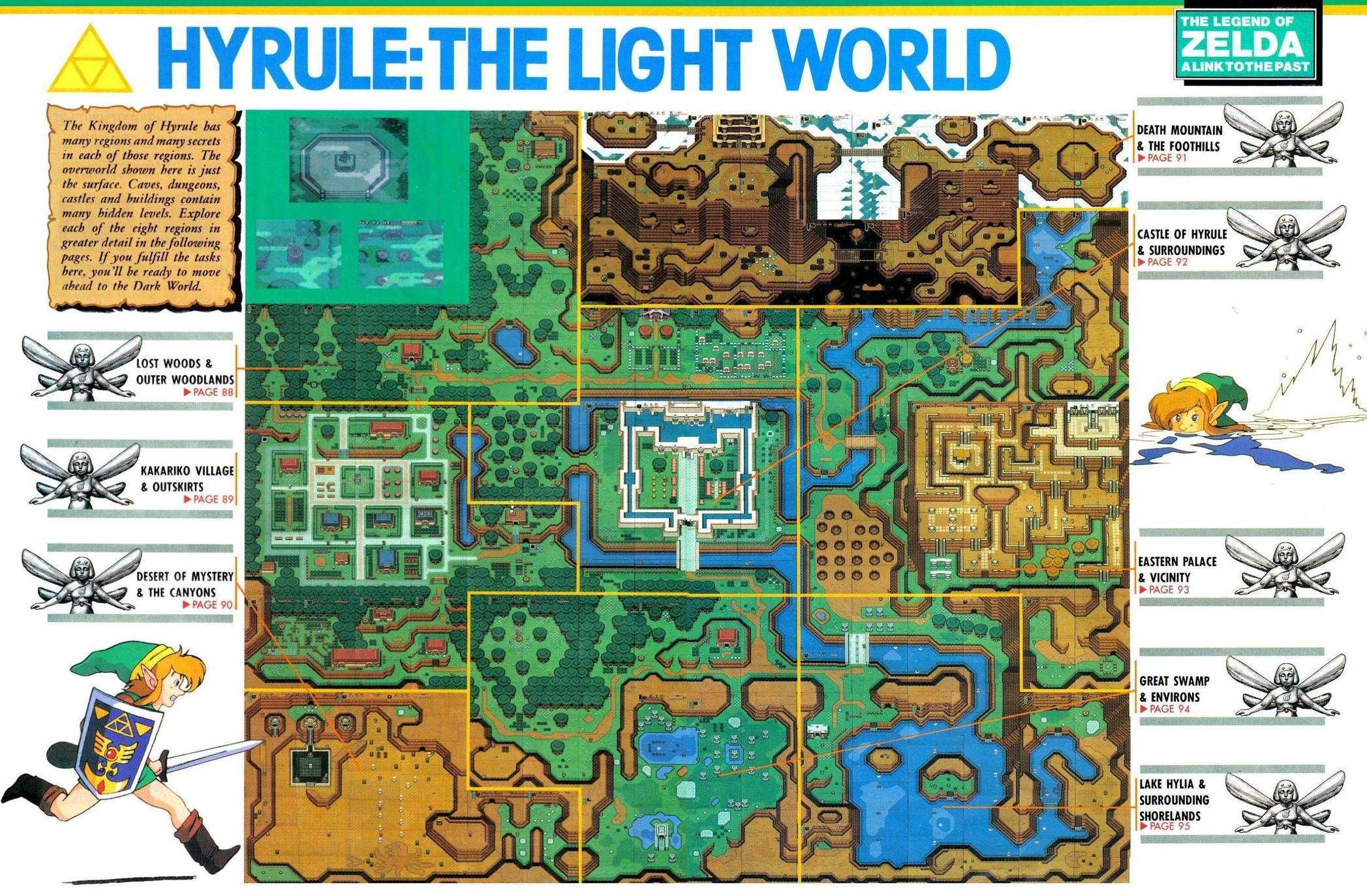 Link To The Past World Map From Nintendo Power Legend Of Zelda Nintendo Zelda A Link To The Past