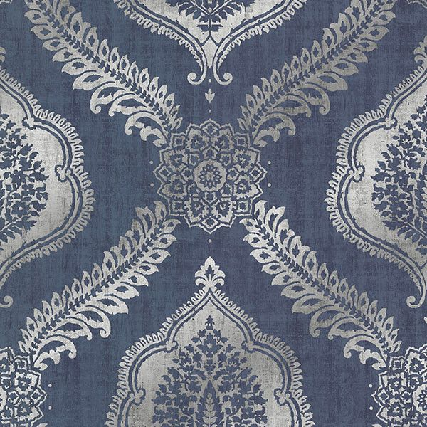 Zoraya Navy Damask Wallpaper from the Alhambra Collection by Brewster... ($108) ❤ liked on Polyvore featuring home, home decor, wallpaper, wallpaper samples, dark blue wallpaper, navy blue damask wallpaper, navy wallpaper, damask wallpaper and navy blue home accessories
