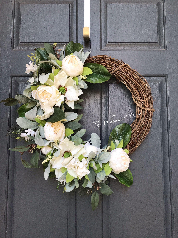 Photo of Farmhouse wreath – Spring wreath – Front door wreath – peony wreath – lambs ear wreath magnolia wreath