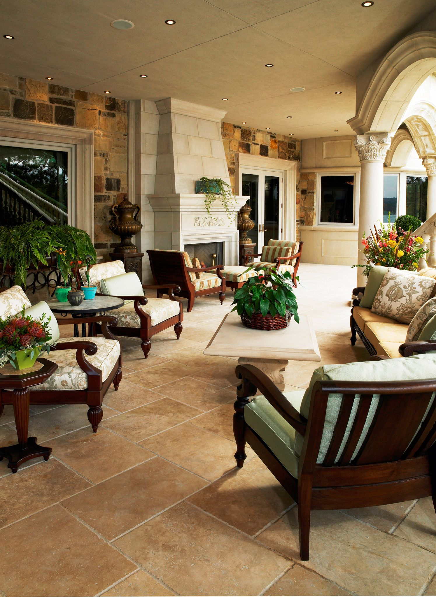 Colonial Elegant Living Room Furniture: I've Always Loved The Idea Of A Lanai With A Fireplace