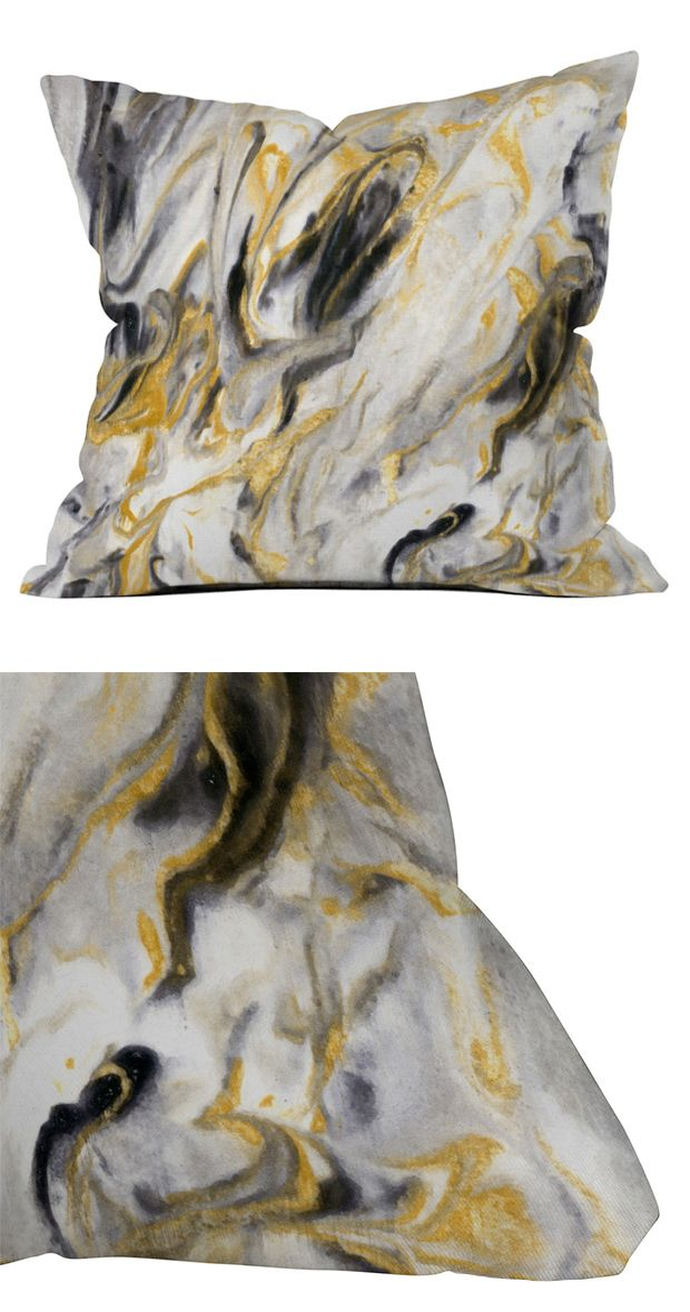 Take marbleized black, gold, gray, and white print and splash it all over your quiet-colored sectional sofa; layer it on top of a sumptuous charcoal duvet, or pad your classic dining chairs with this b...  Find the Granite Throw Pillow, as seen in the Industrial Iridescence Collection at http://dotandbo.com/collections/industrial-iridescence?utm_source=pinterest&utm_medium=organic&db_sku=116799
