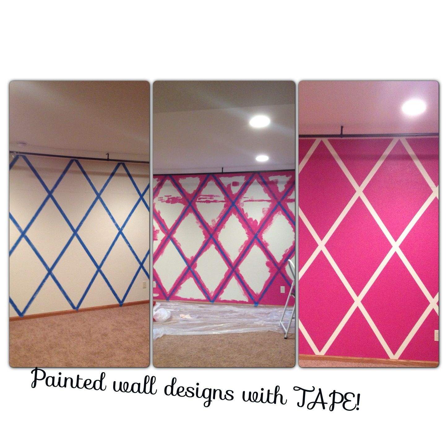 Pink Walls Tape Paint No Stencil Needed Tape Painting Pink Walls Decor