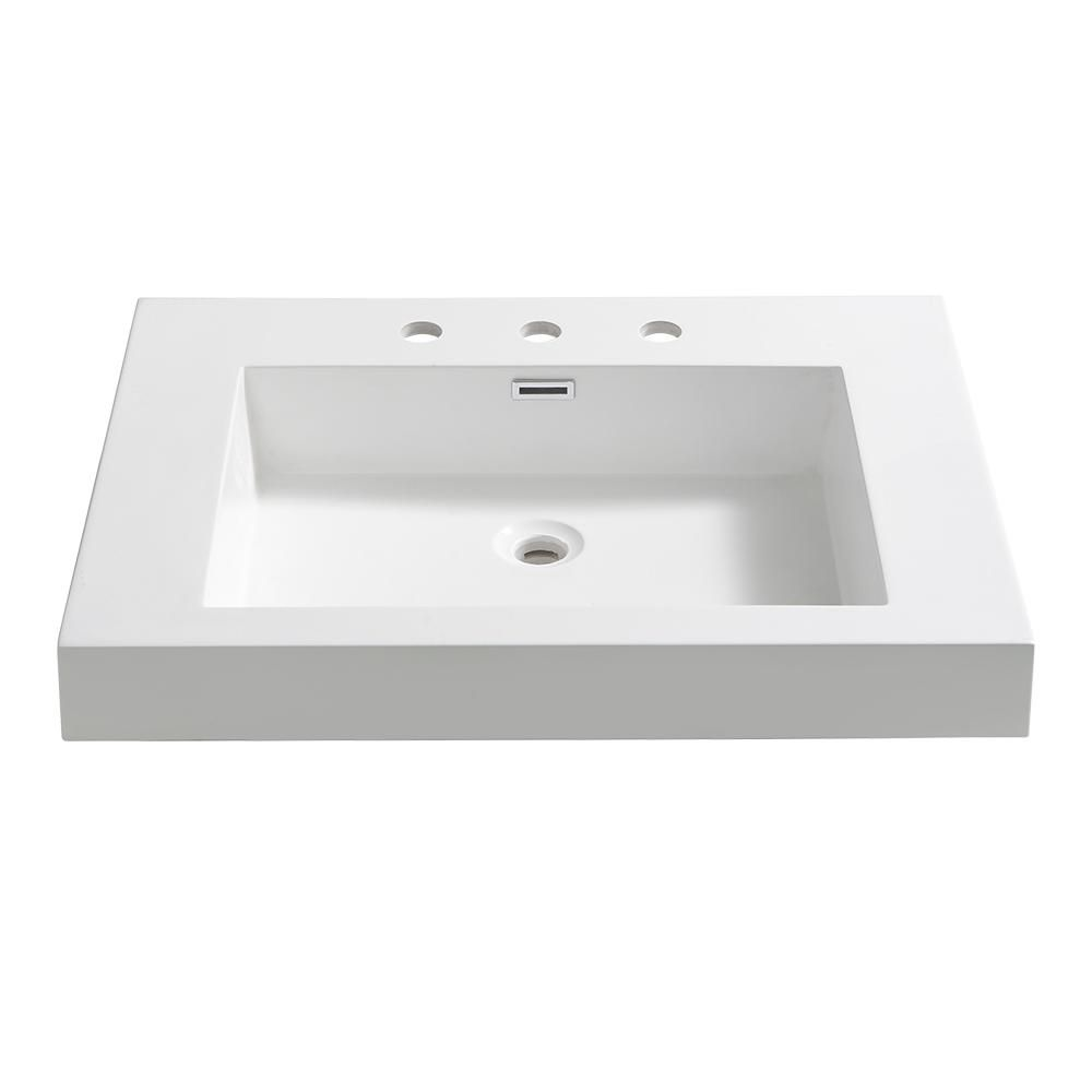 Fresca Potenza 28 In Drop In Acrylic Bathroom Sink In White With