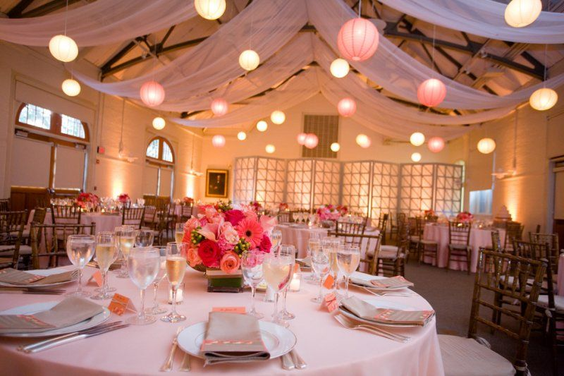pink peach gray colors paper lanterns elm bank photograph by jen ing photography