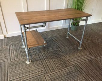 Pipe Desk with Shelving Pipe desk Desks and Iron pipe