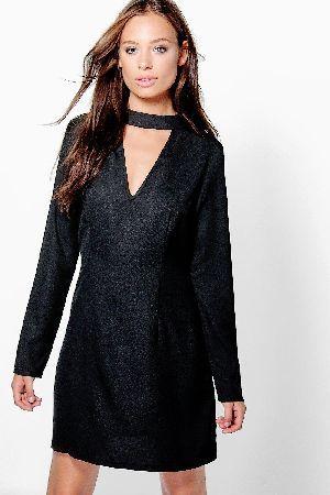 6013fcad62d8 #boohoo High Neck Choker Plunge Shift Dress - black #Ellie High Neck Choker  Plunge Shift Dress - black
