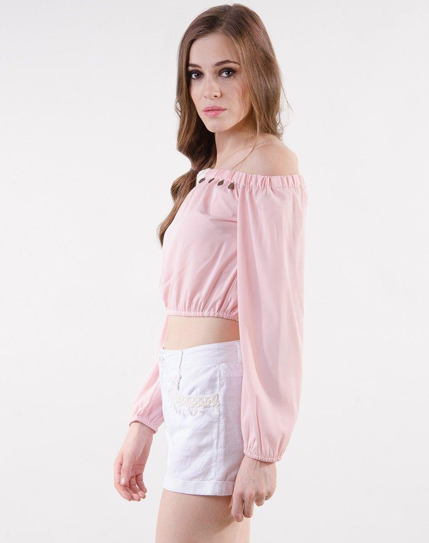 a14e02b0a172ff Stalkbuylove Pink Polyester Solid Crop Top | Crop Tops | Crop tops ...