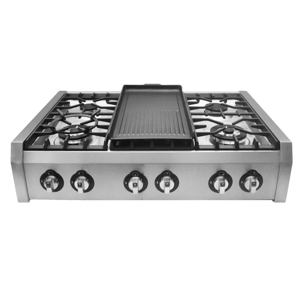 Cosmo 36 In Gas Cooktop In Stainless Steel With Griddle And 6 Burners S9 6 The Home Depot Gas Cooktop Cooktop Wok Accessories
