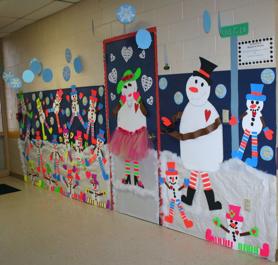 Winter Classroom Idea : Classroom snowman door hallway decoration