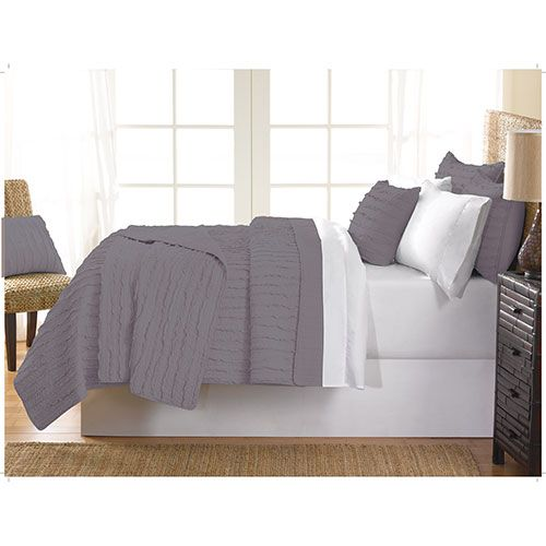 Gouchee Design Ruffle Collection 140 Thread Count Cotton Quilt Set - King - Grey   - Online Only