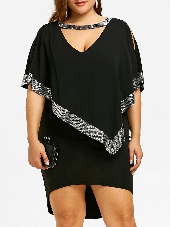 78da6854b22a Plus Size Sparkly Capelet Dress - BLACK 4XL