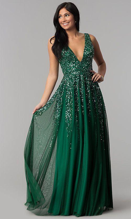 Long Open-Back V-Neck Sequined-Bodice Prom Dress | Tulle ...