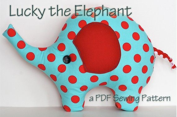 Elephant Pillow Plush Sewing Pattern Lucky the Elephant. OMG how cute is this?