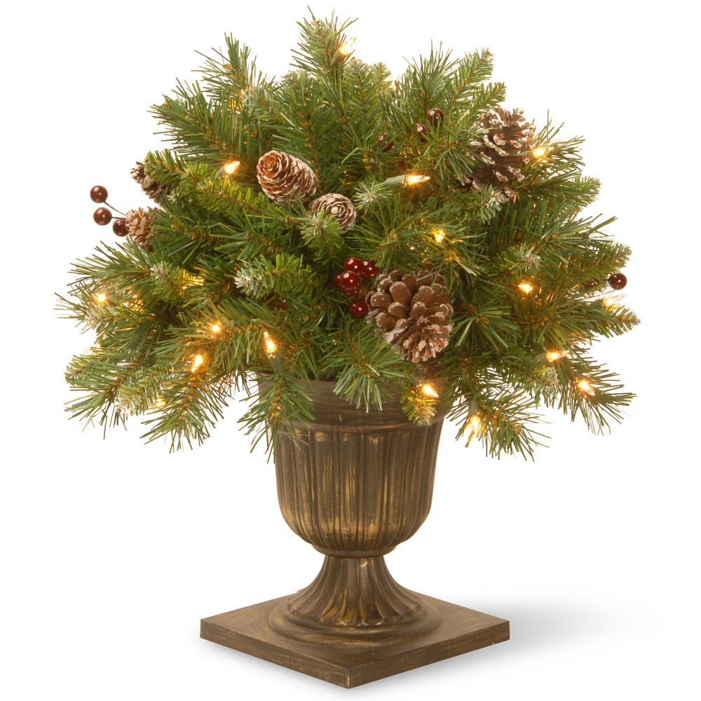 1.5 ft. Frosted Berry Porch Artificial Bush with Clear Lights, Greens