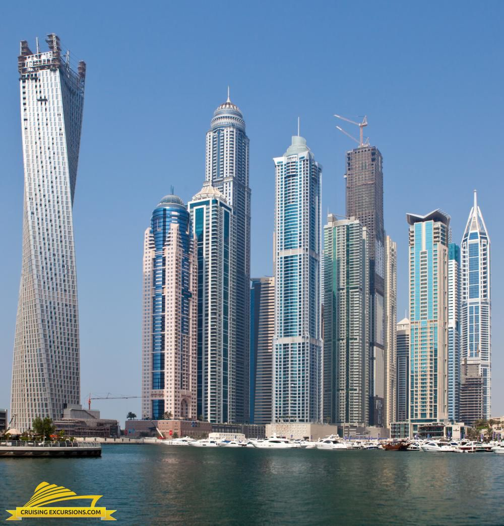 The Golden Tower (far left) in Dubai. Dubai architecture