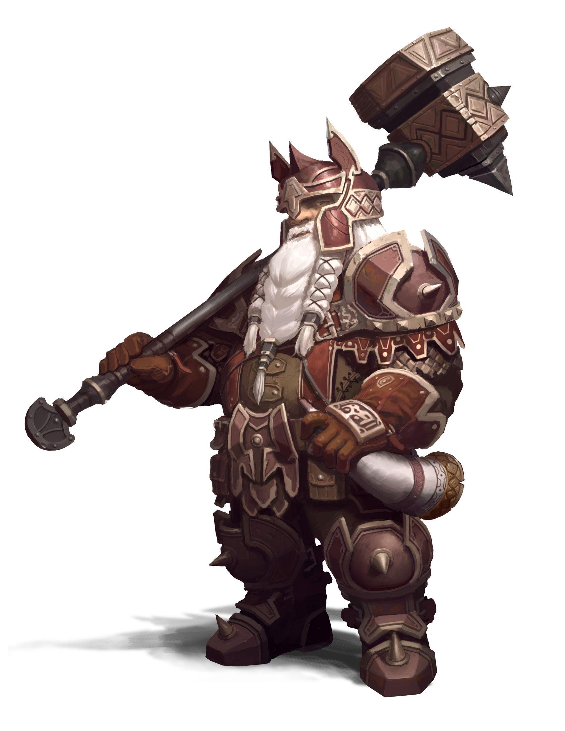 dwarf by Hyeon Gwan Nam (ArtStation) | Male Dwarf Fighter with Hammer