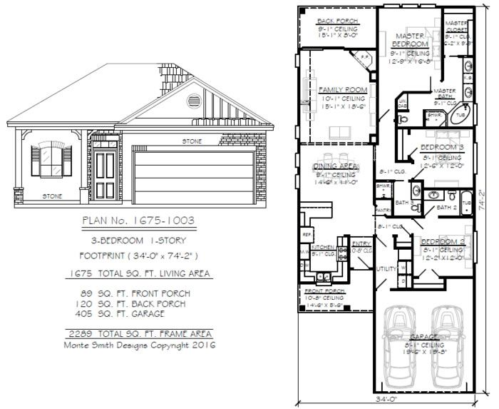 Narrow 1 Story Floor Plans Under 36 Feet Wide Floor Plans Narrow House Designs How To Plan
